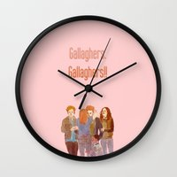 shameless Wall Clocks featuring gallaghers. gallaghers!! by asdfghjkl