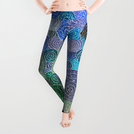 Abstract blue & green glamour glitter circles and polka dots for ladies Leggings
