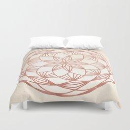 Mandala Bud Rose Gold on Cream Duvet Cover