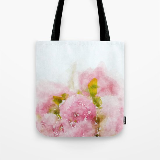 Rose treasure - Pink floral flowers on white background on #Society6 Tote Bag