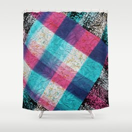 Artsy geometrical teal pink black watercolor lace Shower Curtain