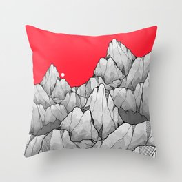Mountains on red Throw Pillow