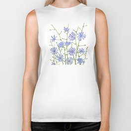 blue chicory watercolor Biker Tank