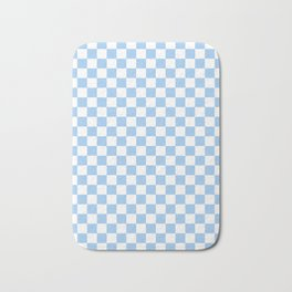 White and Baby Blue Checkerboard Bath Mat