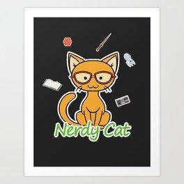 Nerdy Cat - Orange Art Print
