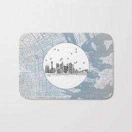 Sydney, New South Wales, Australia City Skyline Illustration Drawing Bath Mat