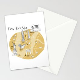 New York City Map - Yellow Stationery Cards