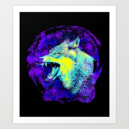 wild angry lone wolf, grunge blue, yellow, purple spray paint design Art Print