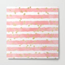 Modern blush pink watercolor stripes gold confetti pattern Metal Print