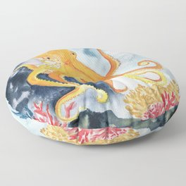 Octopus Watercolor 2 Floor Pillow