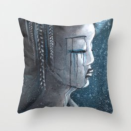 Geisha in Snow: The Stoic Concubine Throw Pillow