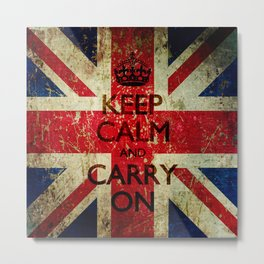 Scratched Metal/Grunge Keep Calm and Carry On Union Jack Metal Print