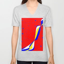 White, Blue and Yellow Stripes with Stars Unisex V-Neck