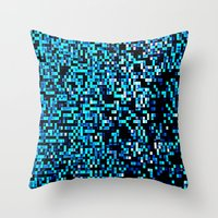 pixel art Throw Pillows featuring Turquoise Blue Aqua Black Pixels by 2sweet4words Designs