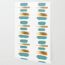 Brush Strokes (Teal/Gold) Wallpaper