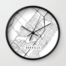 Oakville Map, Canada - Black and White Wall Clock