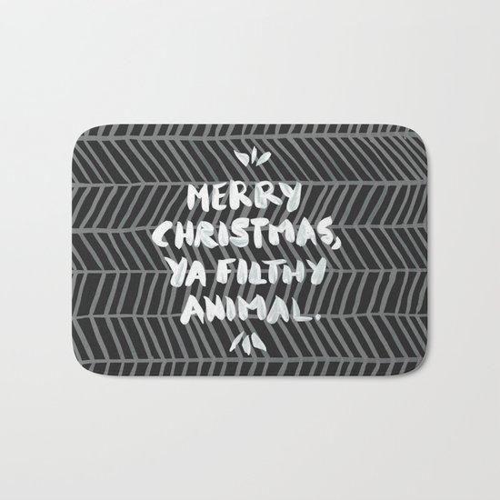 Merry Christmas, Ya Filthy Animal – Black Bath Mat
