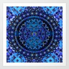 Blue Mosaic Mandala Art Print