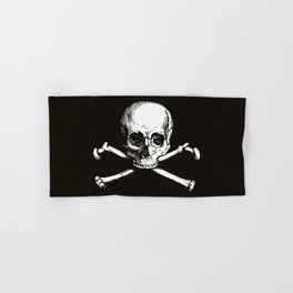 Skull and Crossbones | Jolly Roger | Pirate Flag | Black and White | Hand & Bath Towel