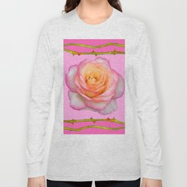 ROSE & RAMBLING THORNY CANES PINK BORDER PATTERNS Long Sleeve T-shirt