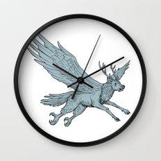 Peryton Flying Side Drawing Wall Clock
