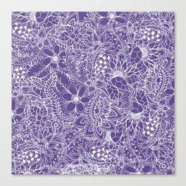 Modern white handdrawn floral pattern on purple ultra violet illustration Canvas Print