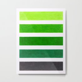 Colorful Green Stripes Metal Print
