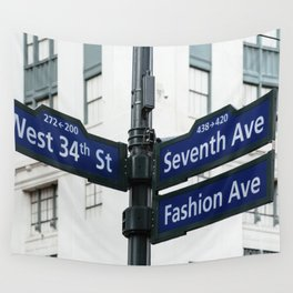 Road signs in Midtown of New York Wall Tapestry