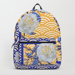 BLUE-ORANGE WHITE ROSES ORIENTAL STYLE  ABSTRACT Backpack