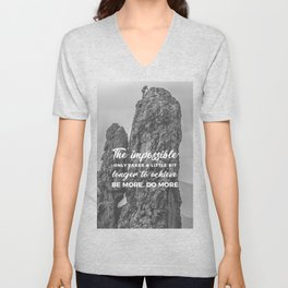 Achieve The Impossible Goals Dreams Ambitions Unisex V-Neck