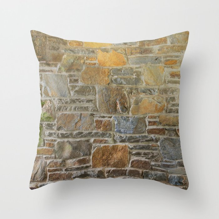 Avondale Brown Stone Wall and Mortar Texture Photography Throw Pillow
