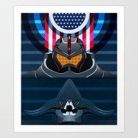 pacific rim Art Prints featuring Pacific Rim, Jaws edition by milanova