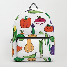 Cute Smiling Happy Veggies on white background Backpack