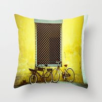bicycles Throw Pillows featuring Bicycles by The Dalai Lomo