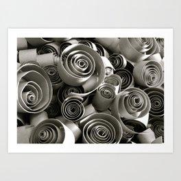 black and white paper swirls Art Print