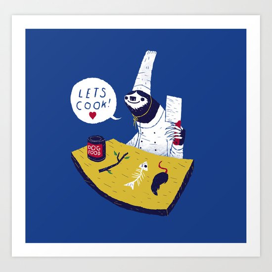 cooking with monsieur sloth Art Print