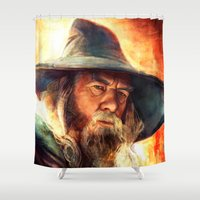 gandalf Shower Curtains featuring Mithrandir by Five-Oclock