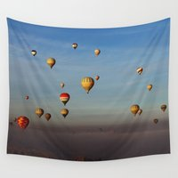 hot air balloons Wall Tapestries featuring Hot Air Balloons - Cappadocia  by Barbo's Art