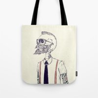 hipster Tote Bags featuring The Gentleman becomes a Hipster  by Mike Koubou