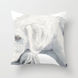 Sleepy Labradoodle Pup Throw Pillow