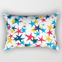 Red white and blue stars with a pop of yellow Rectangular Pillow