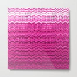Pink wavy lines pattern Metal Print