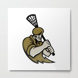 Commando Lacrosse Mascot Metal Print