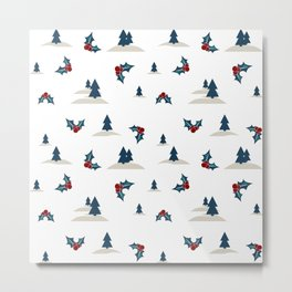 Digital seamless pattern with winter landscape Metal Print