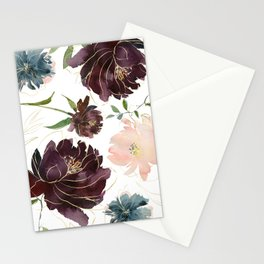Chic Watercolor Flowers Stationery Cards
