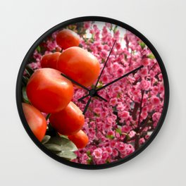 Orange Clementines and Pink Trees Wall Clock