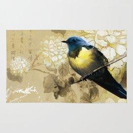 Blue Yellow Thrush Bird - Chinese Painting Art Rug