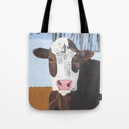 Cow In The Winter Tote Bag