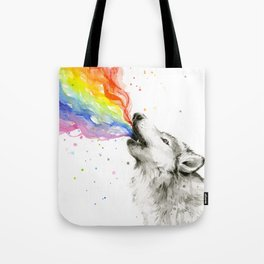 Wolf Howling Rainbow Watercolor Tote Bag