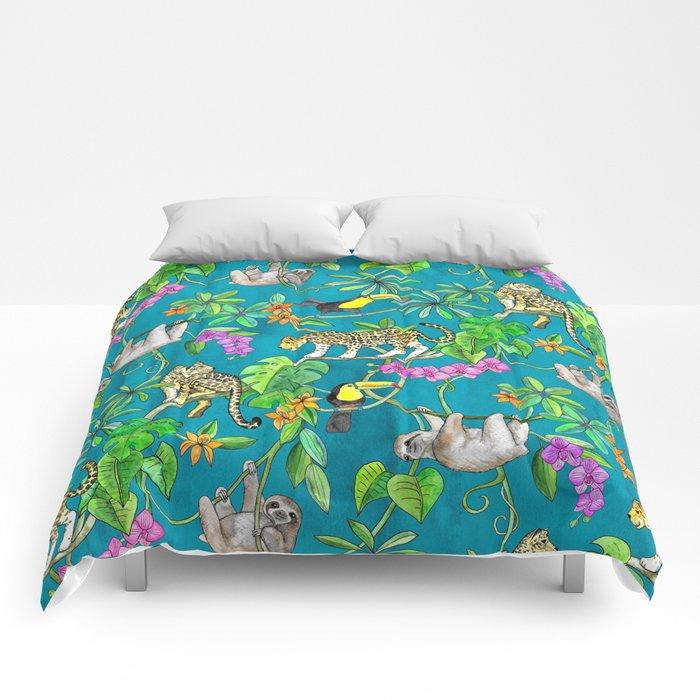 Rainforest Friends - watercolor animals on textured teal Comforters